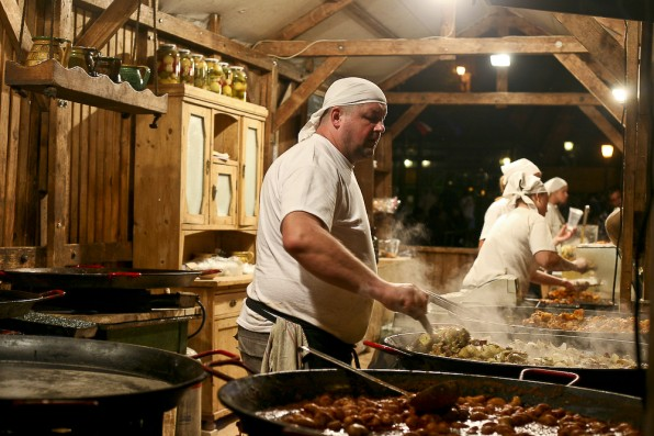 A massive hungarian cook on the street :)...there was a festival deploying on those streets